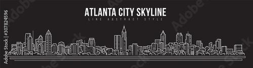 Cityscape Building panorama Line art Vector Illustration design - Atlanta city Canvas-taulu