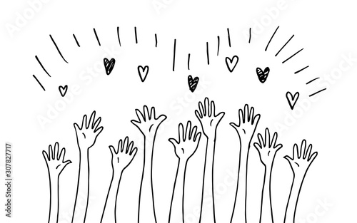 doodle hands up an association, unity, partners, company, friendship Wallpaper Mural