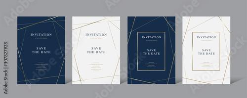 Fototapeta Vintage luxury  invitation card set with golden frame vector design obraz