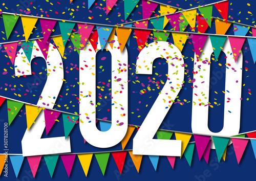 Obraz na plátně Carte de vœux 2020 dans une ambiance de fête, avec des fanions de couleurs, des guirlandes et des cotillons sur un fond bleu nuit