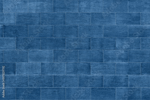 seamless blue ceramic tiles pattern wall fragment - 307829792