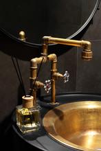 Golden, Copper Faucet Loft Sty...