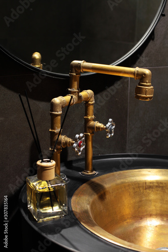 Photo Golden, copper faucet loft style