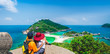 canvas print picture Panorama couple traveler joy view beautiful nature scenic landscape Koh Nang Yuan island Famous adventure landmark tourist travel Thailand fun beach summer holiday vacation, Tourism destinations Asia
