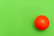 canvas print picture - Red Ball hockey ball on a solid bright green flat lay background symbolizing sports and activity with copy space.