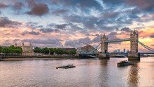 Thames River At Sunset In The London City And Tower Bridge, United Kingdom