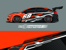 Race Car Graphic Livery Design Vector. Graphic Abstract Stripe Racing Background Designs For Wrap Cargo Van, Race Car, Pickup Truck, Adventure Vehicle.