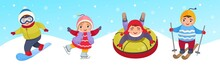 Vector Illustration Of Cute Children In Winter Clothes. Winter Activities - Skiing, Ice Skating, Snowboarding And Sleigh Rides.