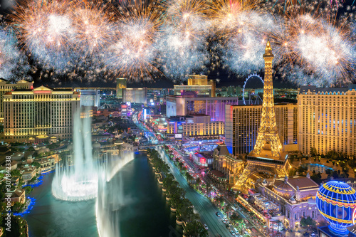 New Year celebration fireworks on Las Vegas strip, Nevada, USA. Canvas Print