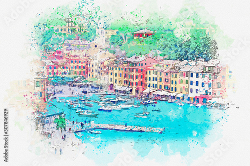Watercolor drawing picture of Landscape Portofino famous small town at Italy Billede på lærred