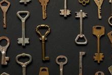 Top View Of Vintage Rusty Keys...