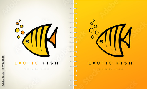 Exotic fish logo vector. Angel fish vector design. Wallpaper Mural