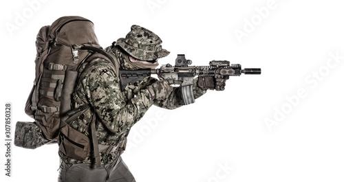 Fotografie, Tablou Army infantryman aiming service rifle studio shoot