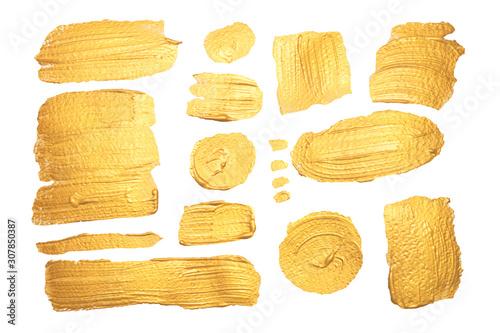 Canvastavla  Set di pennellate dorate su sfondo bianco