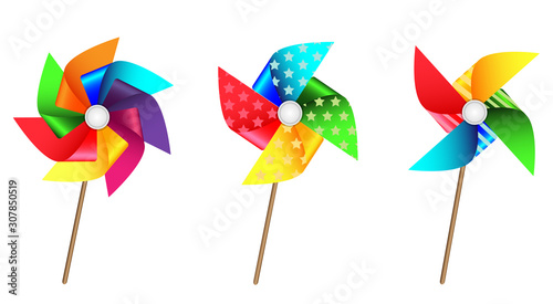 Valokuvatapetti Colourful cute pinwheel set for party or birthday celebration