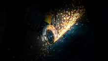 Angle Grinder With Sparks Clos...