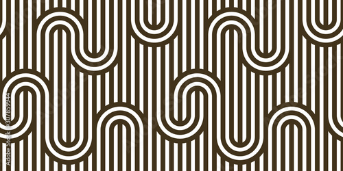 Cuadros en Lienzo Stripy vector seamless pattern with woven lines, geometric abstract background, stripy net, optical maze, web network