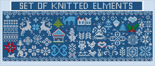Vector Set Of Knitted Christmas Elements And Decorations. Knitted Snowflakes, Ornaments, Birds, Christmas Trees And Gifts On A Blue Background