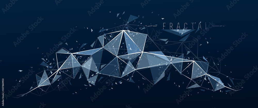 Fototapeta Low poly particles abstract vector background, polygonal fractal design, 3D dimensional element with connected lines, mesh object technology and science theme.