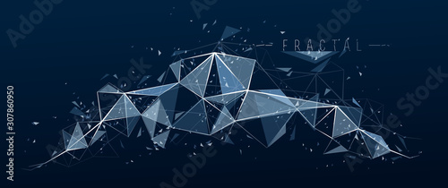 Low poly particles abstract vector background, polygonal fractal design, 3D dimensional element with connected lines, mesh object technology and science theme. - 307860950
