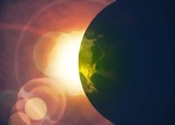 Eclissi, un pianeta davanti al sole, stella ardente nell'universo