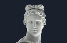 Greek Apollo Head. White Plast...