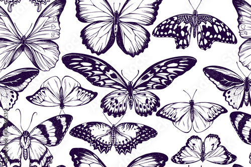 Fotografie, Tablou  Artistic seamless pattern with morpho menelaus, morpho rhetenor cacica, cethosia