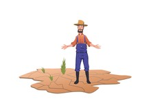 Farmer Standing Next To Green Sprouts On A Dry Field. Concept Of Drought, Global Warming, Lack Of Water, Irrigation. Vector Illustration, Isolated On White Background.