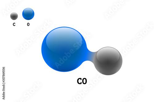 Chemistry model molecule carbon monoxide CO scientific element formula Canvas Print