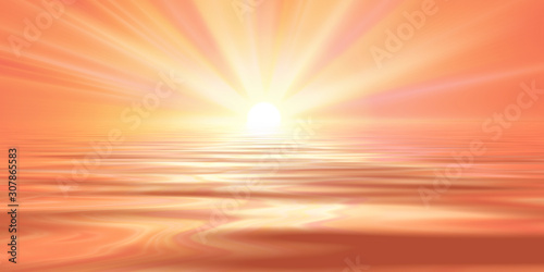 Poster de jardin Corail spring sun rays water reflection pink red sky. spring landscape illustration