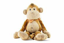 Plush Brown Monkey Doll Toy Isolated On White Background With Cliping Path