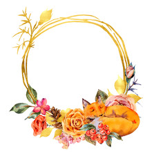 Watercolor Floral Gold Frame W...