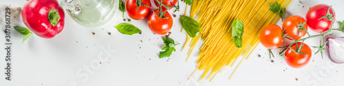 Traditional ingredients for spaghetti pasta Fototapeta