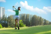 Asian  Sporty Woman Golfer Pla...