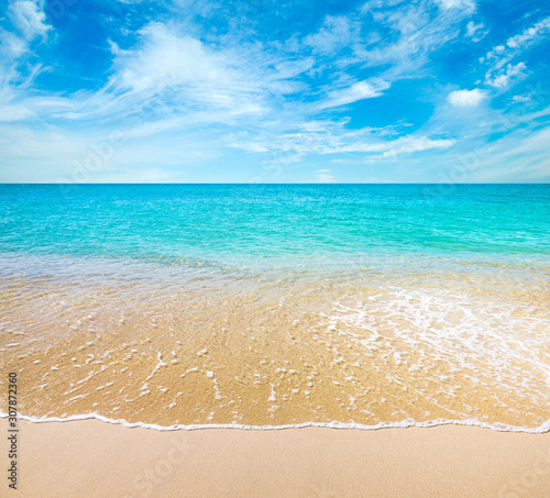 Tropical beach turquoise water in summer day