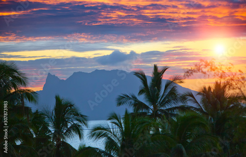 Sunset over the sea and mountains,  Tahiti... Wallpaper Mural