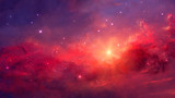 Space background. Colorful nebula with two planet. Elements furnished by NASA. 3D rendering