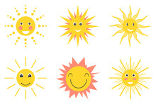 Sun Emoji. Funny Summer Sunshine, Sun Baby Happy Morning Emoticons. Set Of Different Smiling Yellow, Orange And Red Sun Isolated On White Background.