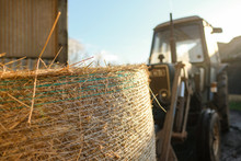 Large Bale Of Hay Seen Being T...