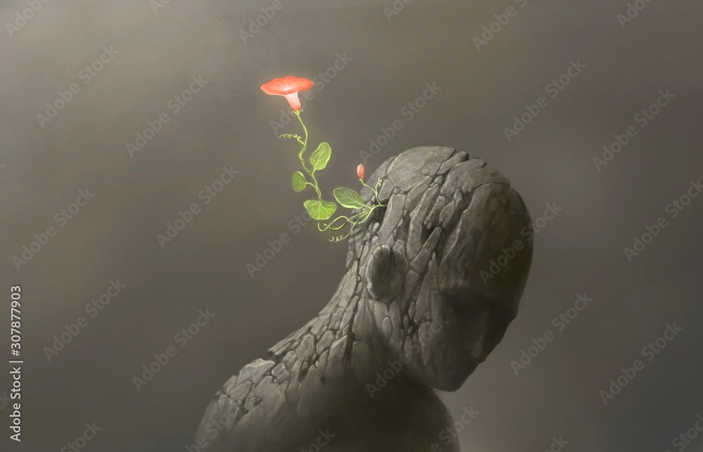 Life and freedom and hope concept , Imagination of surreal scene flower with broken human sculpture, digital artwork illustration