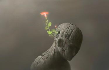 Koncept života i slobode i nade, Mašta cvijeta nadrealnog prizora sa slomljenom ljudskom skulpturom, ilustracija digitalnih umjetničkih djela
