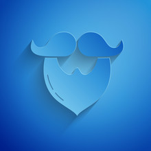 Paper Cut Mustache And Beard Icon Isolated On Blue Background. Barbershop Symbol. Facial Hair Style. Paper Art Style. Vector Illustration