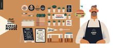 Burger House -small Business Graphics - Owner -modern Flat Vector Concept Illustrations Of A Bearded Man Wearing Apron, Cheeseburger Exploded View Poster, Condiments, Interior Branded Elements