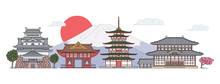 Ancient Japan Architecture Landscape - Flat Banner With Japanese Pagoda Temples