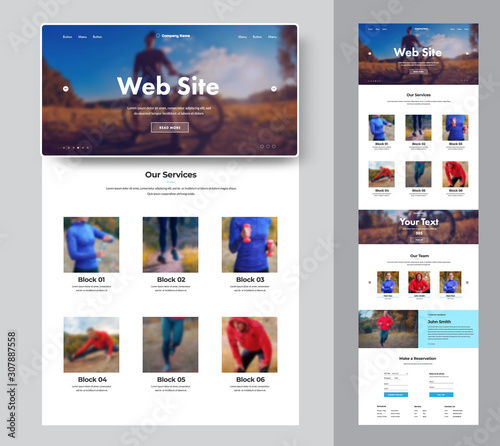 Website template for a sport club or shop with place for photo Fototapeta