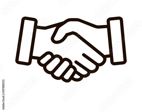 Business agreement handshake line style art icon for websites and apps Canvas Print