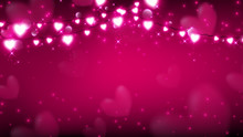 Abstract Of Valentine Background With Fairy Lights Hanging On Top And Producing Magic Particles Are Dropping Down