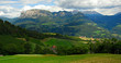 South Tyrol, Bolzano, Italy. View of the Dolomite Alps and the valley.