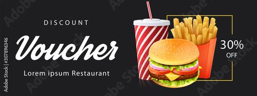 Fotografía Burger Discount Voucher Template. illustration - Vector.