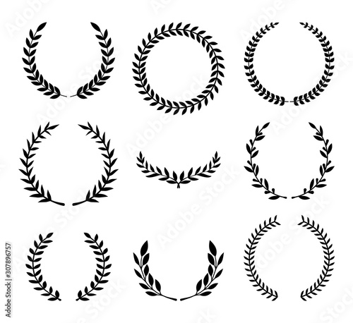 Set of various laurel wreaths Slika na platnu